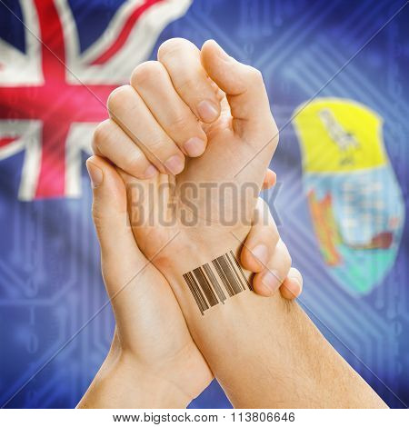 Barcode Id Number On Wrist And National Flag On Background - Ascension And Tristan Da Cunha Saint He
