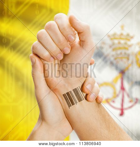Barcode Id Number On Wrist And National Flag On Background - Vatican City State