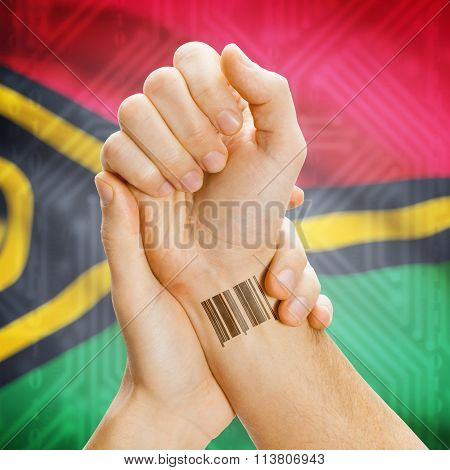 Barcode Id Number On Wrist And National Flag On Background - Vanuatu