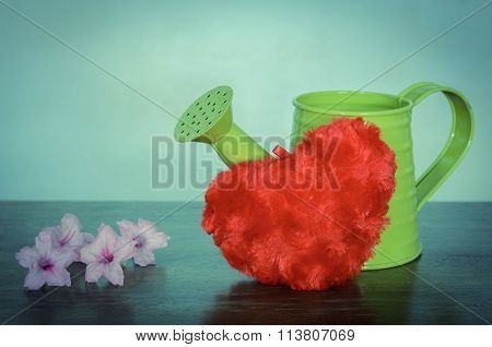 Watering Can With Flowers And Red Heart