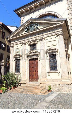 Historic library Biblioteca Ambrosiana in Milan, Italy