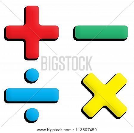 Maths arithmetic symbols primary colours