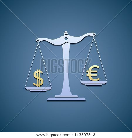 Scales With Dollar And Euro.