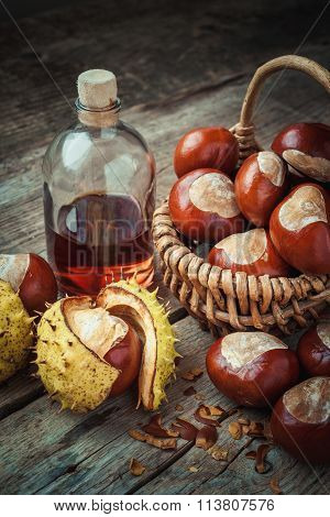 Brown Chestnuts In Basket And Bottle Of Healthy Tincture On Old Wooden Table. Retro Styled.
