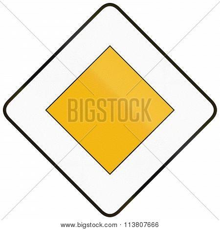 Road Sign Used In Spain - Priority Road