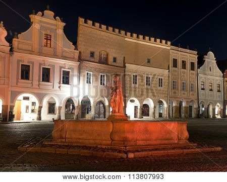 Night View Of Telc Or Teltsch Town Square