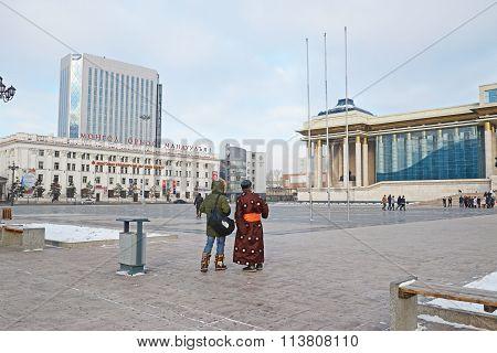 Ulaanbaatar, Mongolia-dec,03 2015: Sukhbaatar Square In Winter. Ulaanbaatar