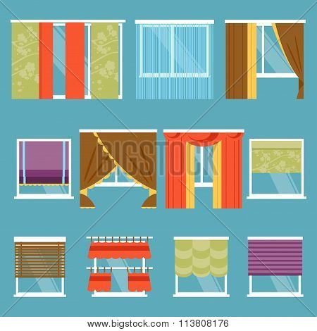 Types Of Curtains. Vector Illustration