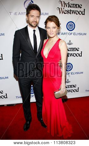 Ashley Hinshaw and Topher Grace at the Art Of Elysium's 9th Annual Heaven Gala held at the 3LABS in Culver City, USA on January 9, 2016.