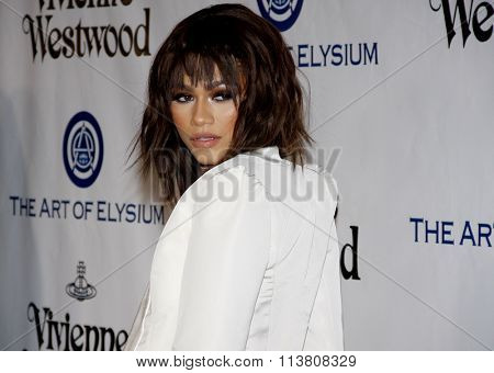 Zendaya at the Art Of Elysium's 9th Annual Heaven Gala held at the 3LABS in Culver City, USA on January 9, 2016.