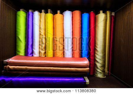 Colorful Silk Fabrics On Roll