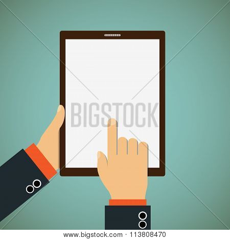 Man Shows His Finger On A Tablet.