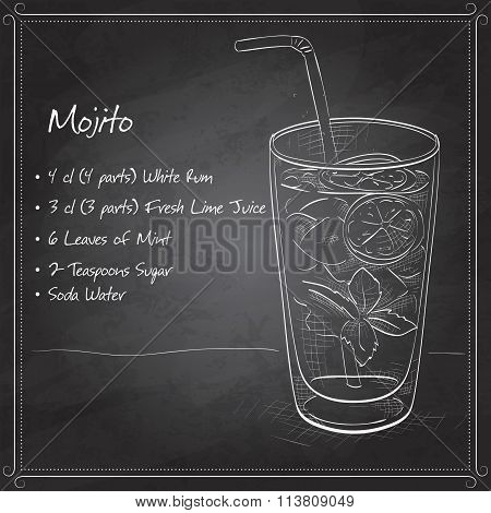 Mojito fresh cocktail on black board