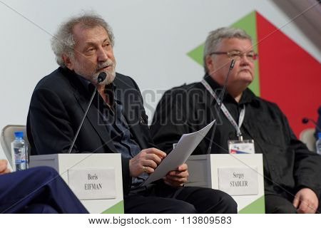ST. PETERSBURG, RUSSIA - DECEMBER 16, 2015: Choreographer Boris Eifman (left) and violinist and conductor Sergey Stadler during the final plenary session of 4th St. Petersburg Cultural Forum