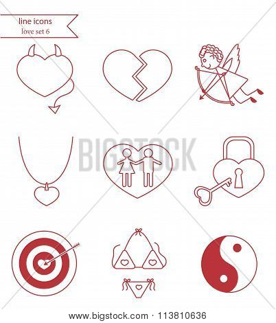Vector line style icons. Love set 6