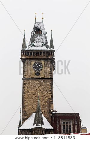 Old Town Square Clock Tower In The Winter