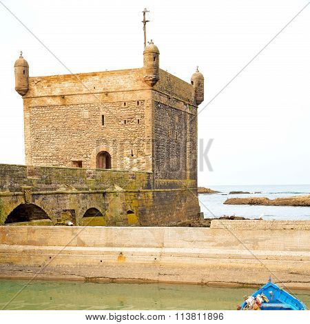 Boat And Sea In Africa Morocco Old Castle Brown Brick  Sky