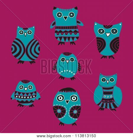Cute Owls vector illustration on a lilac background