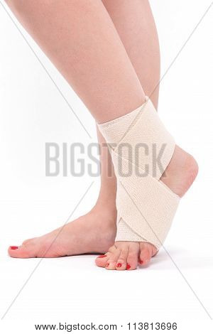 Women's Leg Tied With An Elastic Bandage, Ankle Foot
