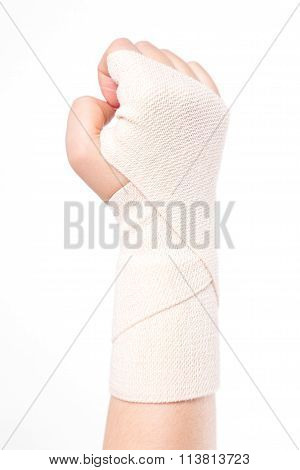 Studio Shot Female Wrists Tied With An Elastic Bandage