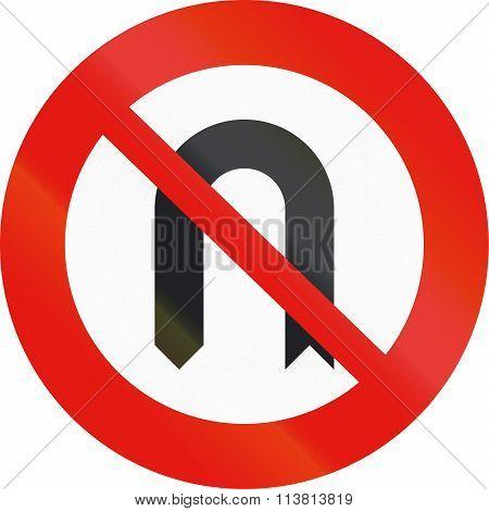 Road Sign Used In Spain - No U-turn