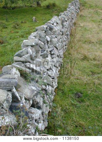 Irish Stone Wall And Fields