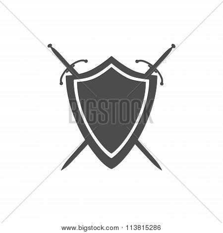Grey Icon Of Shield And Two Crossed Swords Under It Isolated On White