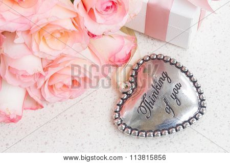 Heart with pink roses
