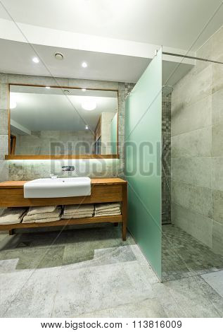Sink With Big Mirror And Shower Cabin