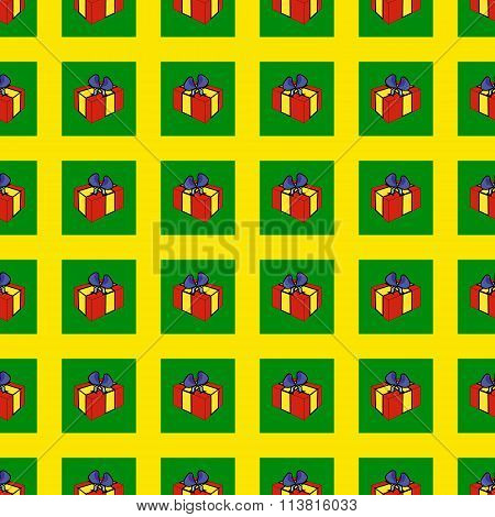 Seamless Festive Pattern With Colored Childrens Gift Boxes