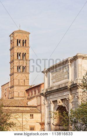 Arch Of Titus And Basilica Di Santa Francesca Romana