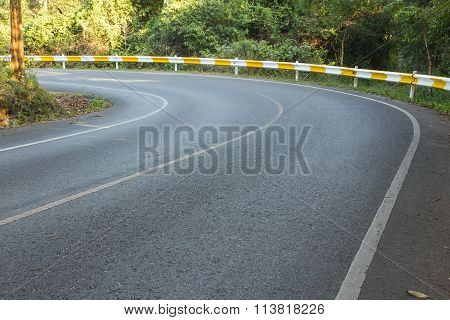road curve in thailand nation park at Khao Yai