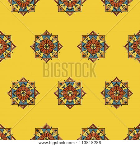 Seamless pattern with ethnic rosettes on an orange background