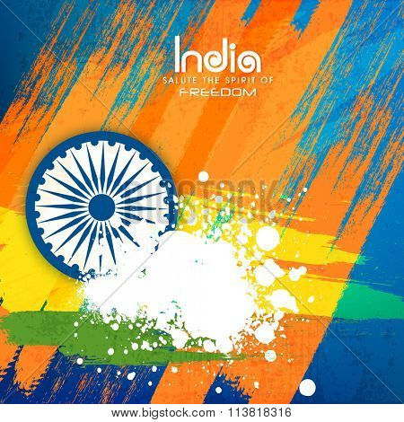 Elegant greeting card design in National Flag colours with Ashoka Wheel for Indian Republic Day celebration.