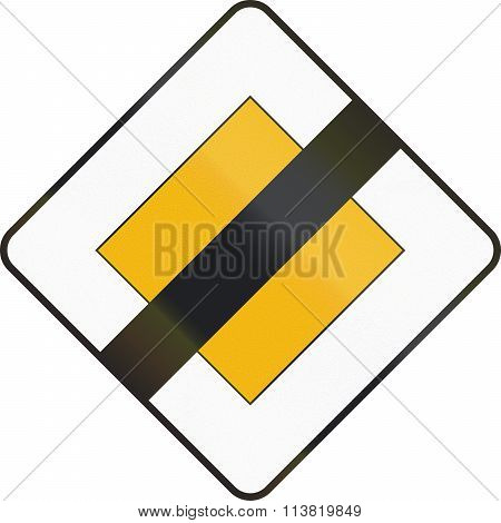 Road Sign Used In Spain - End Of Priority Road