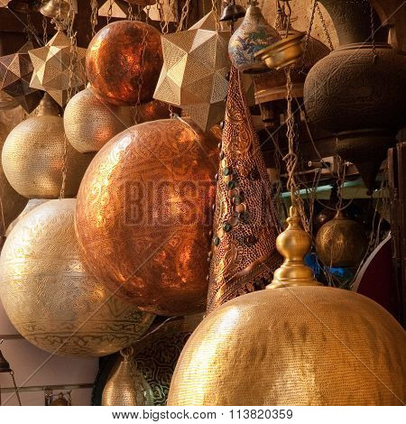 Traditional Arabic Brass Lampshades On Display In Traditional Market In Cairo, Egypt