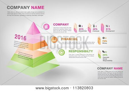 Modern 3D Pyramid Graph Infographic In Vector Eps10