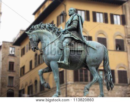 Equestrian Statue Of Cosimo De Medici In Piazza Della Signoria, Florence, Italy .
