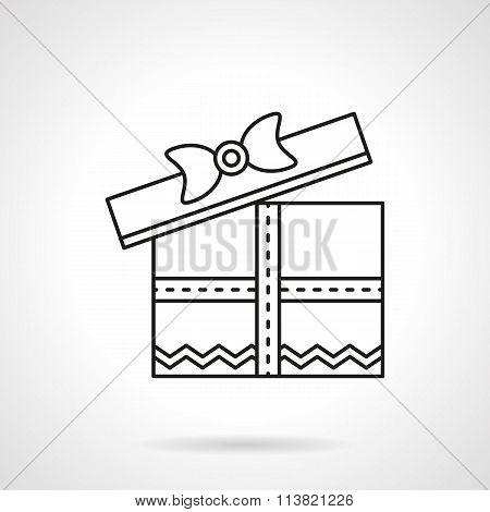 Romantic gift flat black line vector icon