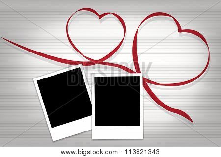 Two Heart With 2 Photographs For Our Best Memory In Vector Eps10