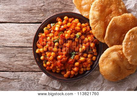 Delicious Indian Chana Masala And Puri. Horizontal Top View