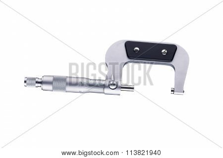 Open micrometer side view isolated on white background