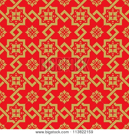 Seamless vintage Chinese window tracery golden square star cross pattern background.