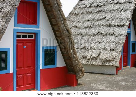 Small Rural House With A Triangular Thatched Roof.madeira