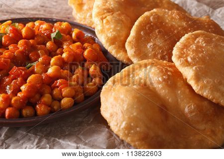 Indian Bread Puri And Chana Masala Macro. Horizontal