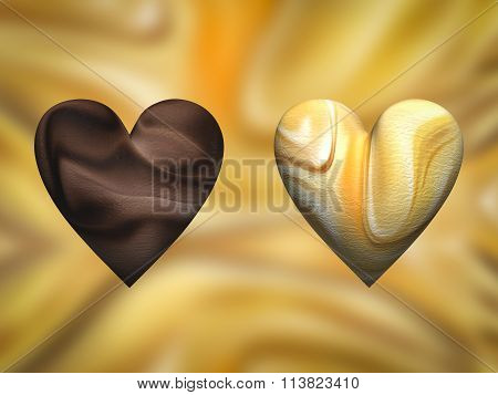 Chocolate heart and caramel heart