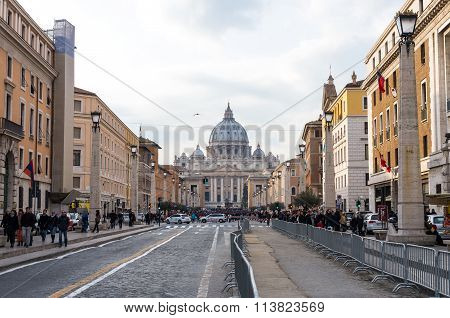 Tourists Visiting The Basilica Of St. Peter In The Vatican