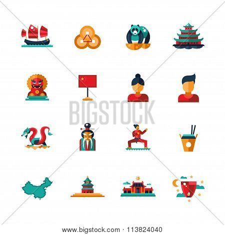 Flat design China travel icons, infographics elements with Chinese symbols
