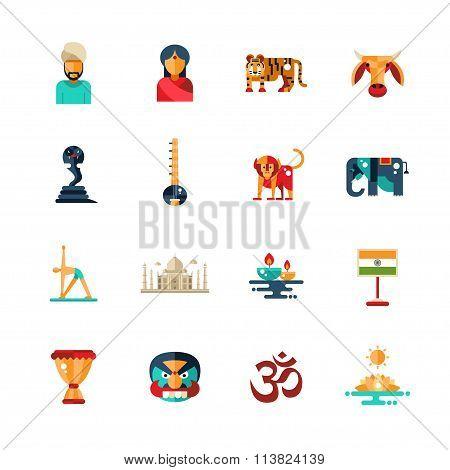 Flat design India travel icons, infographics elements with Indian symbols