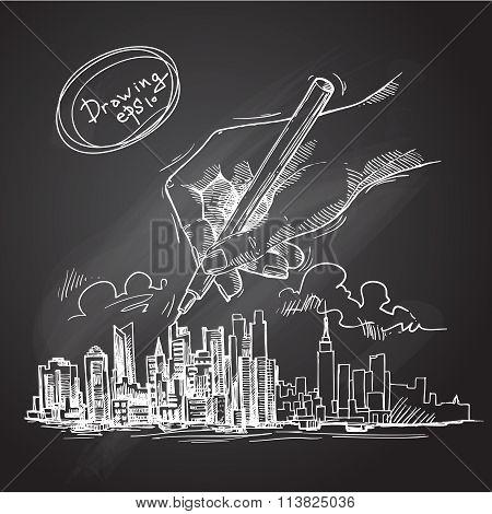 city background sketch